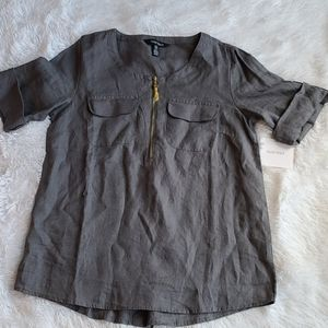 Ellen Tracy | linen top | Sz Sm